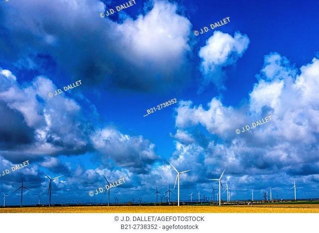 Wind turbines for wind power by Sezanne, Marne, Grand Est, France