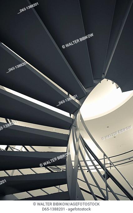 France, Puy-de-Dome Department, Auvergne Region, Clermont-Ferrand, Old Montferrand, Musee d'Art Roger-Quilliot museum, interior staircase