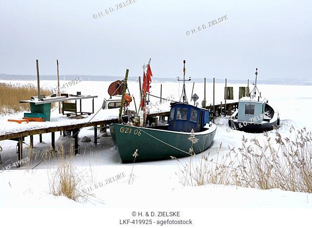 Boats in Gross Zicker, Moenchgut, Isle of Ruegen Mecklenburg-Western Pomerania, Germany Europe