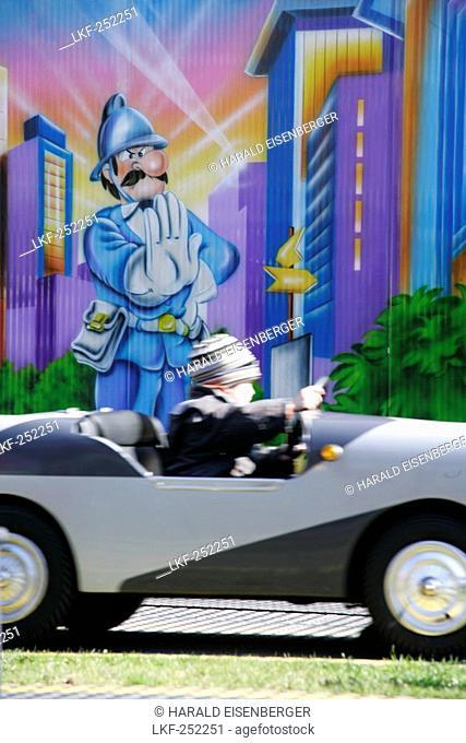 Boy in Car, Amusement Park, Vienna Prater, Vienna, Austria