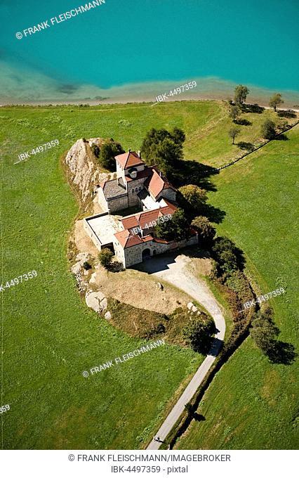 Castle Crap Da Sass, Surlej, Silvaplana lake, Silvaplana, Engadin, Canton of Grisons, Switzerland