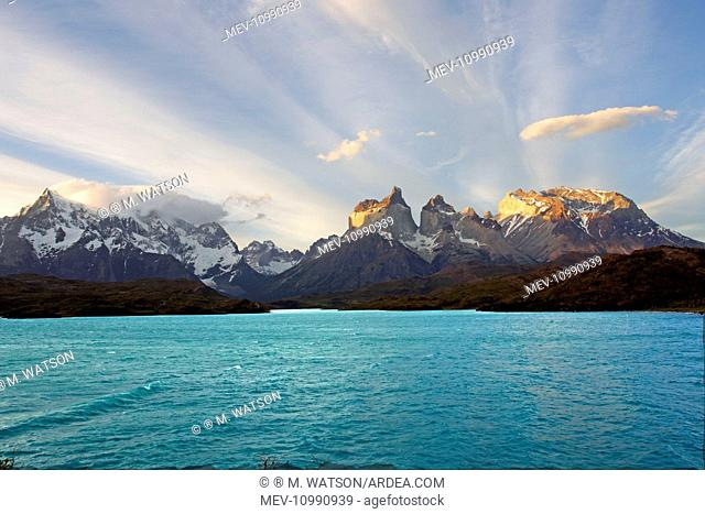 The 'horns' of Torres del Paine with Lake Pehoe in the foreground Torres del Paine National Park Magellan Region Patagonia Chile