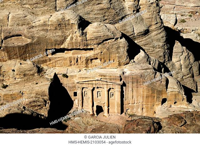 Jordan, Nabataean archeological site of Petra, listed as World Heritage by UNESCO, the façade of the Roman Soldier's Tomb, carved out of a sandstone rock face