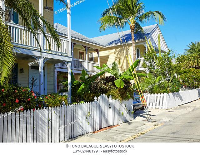 Key west downtown street houses facades in Florida USA