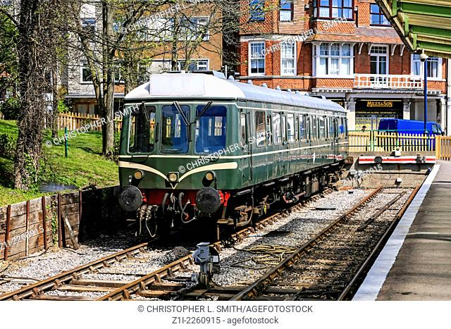 """A """"""""Bubble Car"""""""" Class 121 British Rail vintage locomotive at Swanage Station in Dorset"""