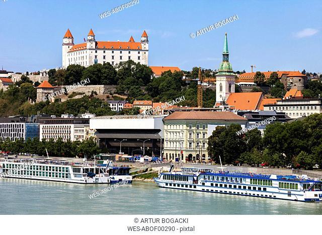 Slovakia, Bratislava, Bratislava Castle and St. Martin's Cathedral at Danube River on Little Carpathians hill