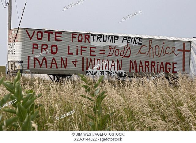 Dixon, Nebraska - A trailer on an eastern Nebraska farm carries the political opinions of the resident
