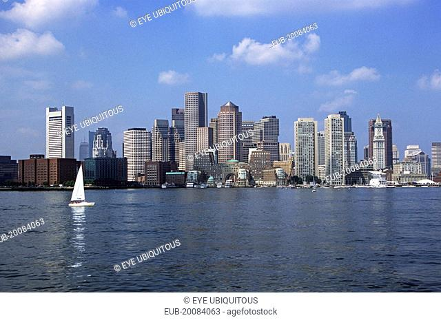 Boston City Skyline from the harbour