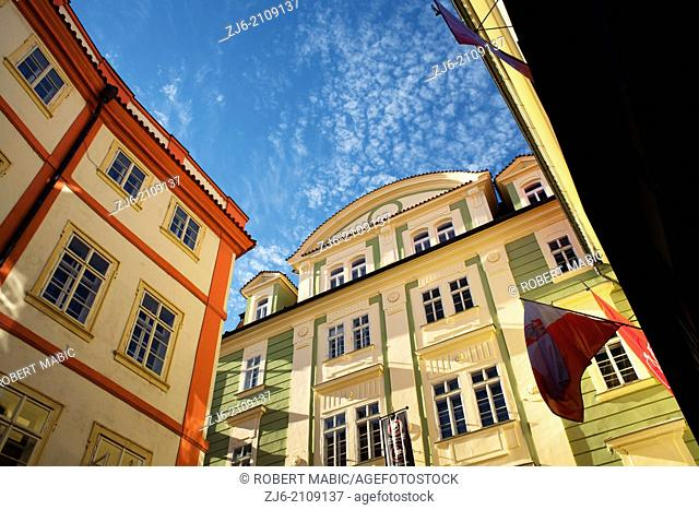 Colorful houses. Street of Prague. Czech Republic
