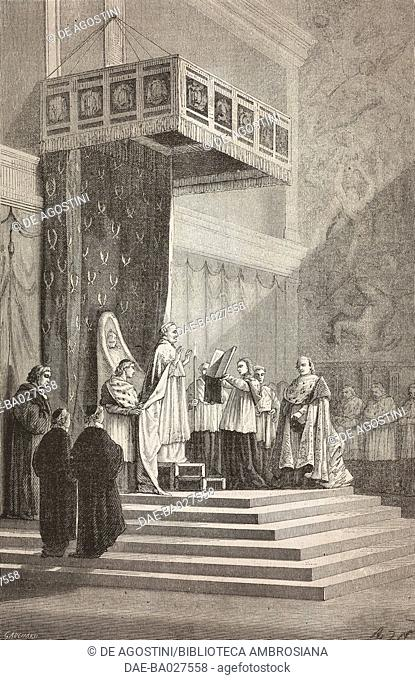 Pope Pius IX officiating in the Sistine Chapel, Vatican, drawing by Alphonse de Neuville (1835-1885), after a sketch by Elie Delaunay (1828-1891)