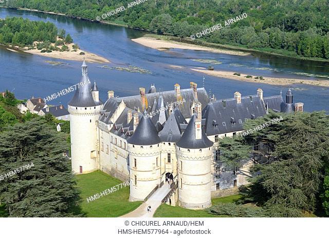 France, Loir et Cher, Loire valley listed as World Heritage by UNESCO, Chaumont sur Loire, the castle and the Loire river