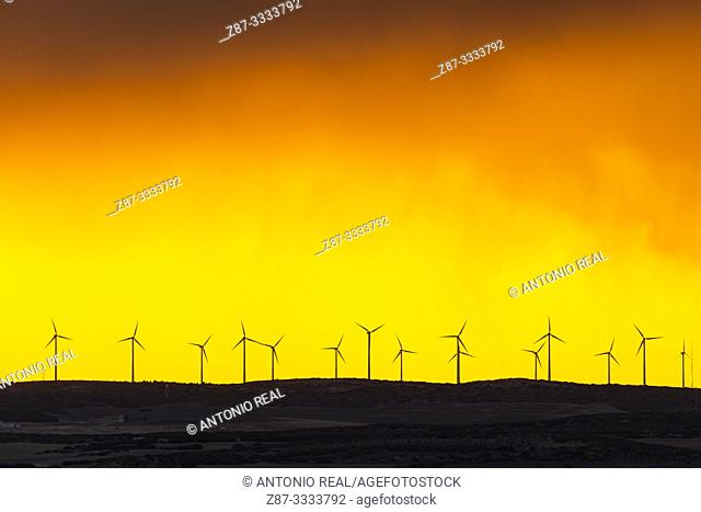Windfarm and sunset sky. Almansa. Albacete province, Castile-La Mancha, Spain