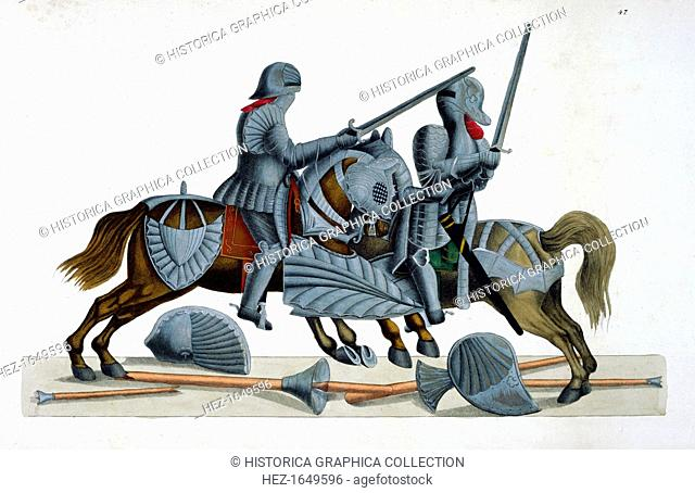 Two knights jousting at a tournament, 1842. Plate from A History of the Development and Customs of Chivalry, by Dr Franz Kottenkamp