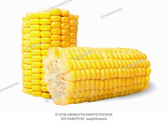 Two pieces of ripe corn cob isolated on white background