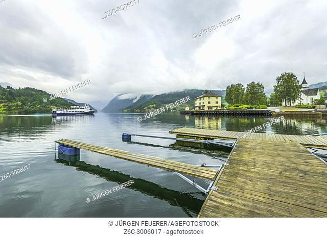 boat stages and the seashore of Ulvik, Norway, Scandinavia, Ulvikafjorden, Hordaland county, Hardangerfjord