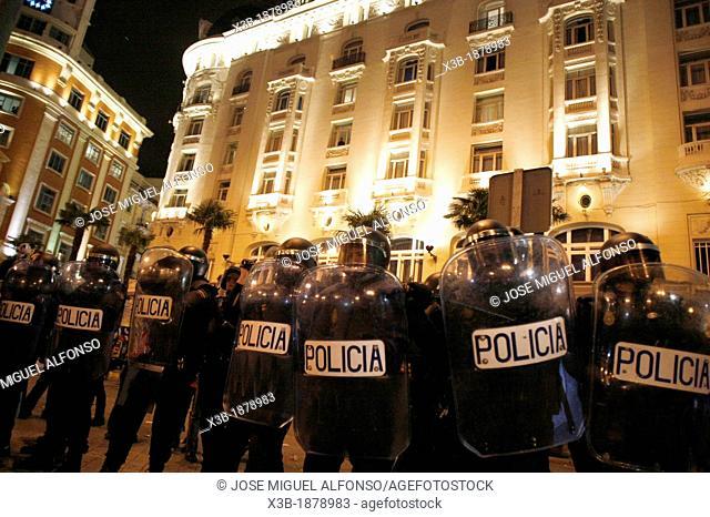 Members of riot police deployed in Madrid, Spain on November 14, 2012, day of general strike  Madrid, Spain