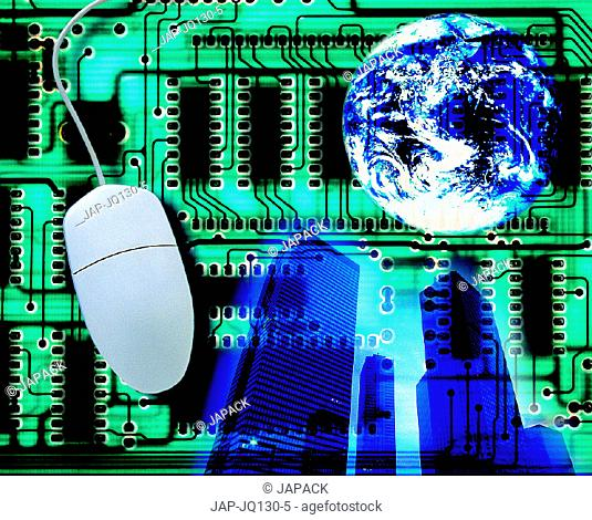 Mouse, globe, building and circuit board