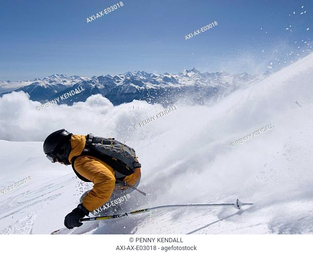 Skiing above the cloud in the Rhone ValleyCrans Montana, Valais, Switzerland