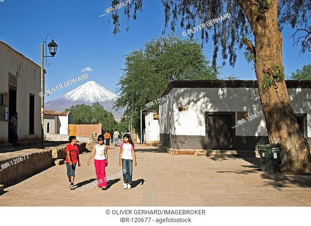 San Pedro de Atacama and Licancabur volcano, Atacama desert, northern Chile, South America
