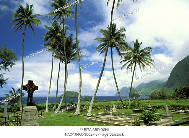 Hawaii, Molokai, Kalaupapa, St.Philomena's church graveyard