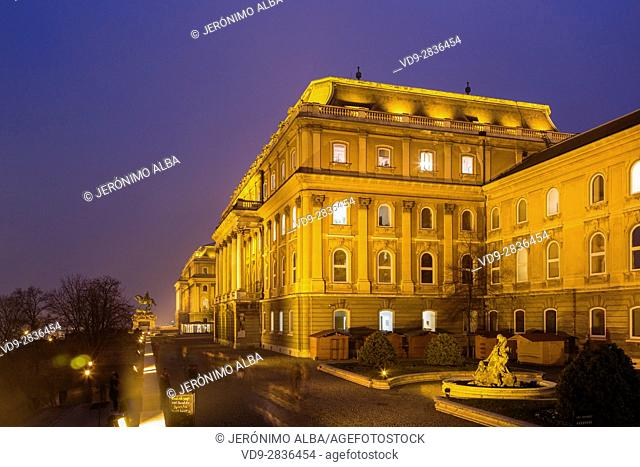 Royal Palace on Castle Hill at evening. Budapest Hungary, Southeast Europe
