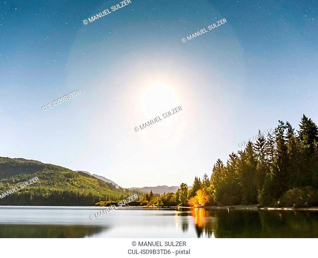 Horne Lake in sunlight, Qualicum Bay, Vancouver Island, British Columbia, Canada