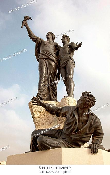 The Martyrs Statue, riddled with bullet holes, at Martyrs Square in Beirut, Lebanon