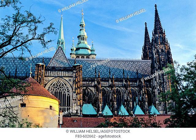 Castle Quarter: St. Vitus Cathedral, powder tower. Prague. Bohemia. Czech Republic