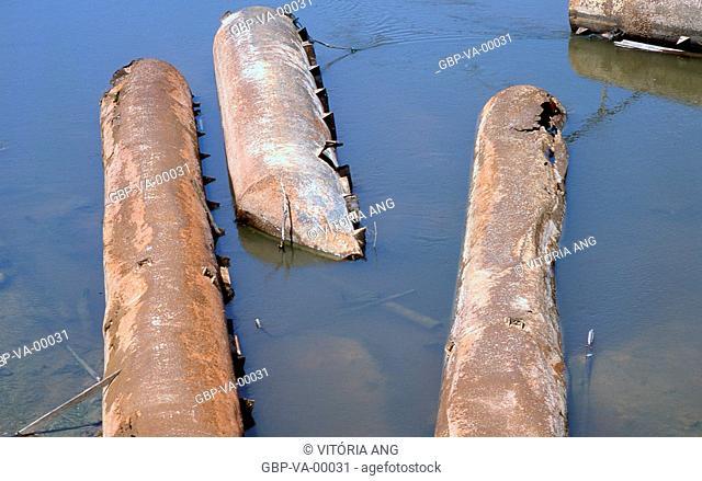 Skeletons ferries; road Old Port; Guajará Mirim; Rondonia; Brazil
