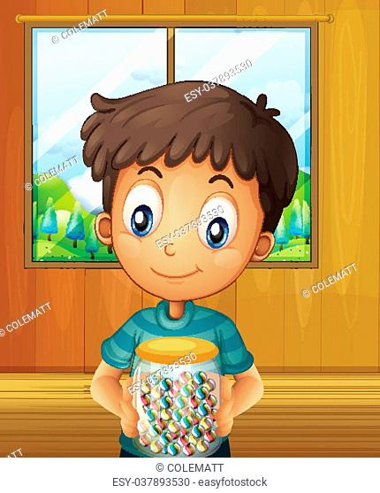 Illustration of a boy holding a jar of candy balls