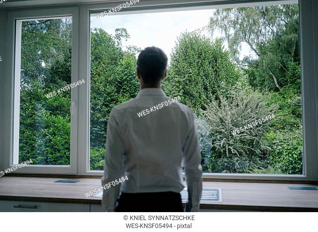 Businessman looking out of the kitchen window of his new home, rear view