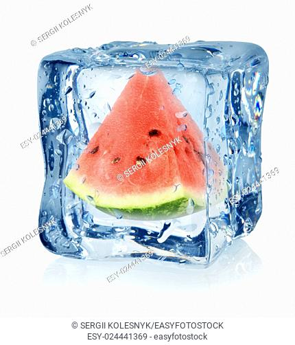 Ice cube and watermelon isolated on a white background