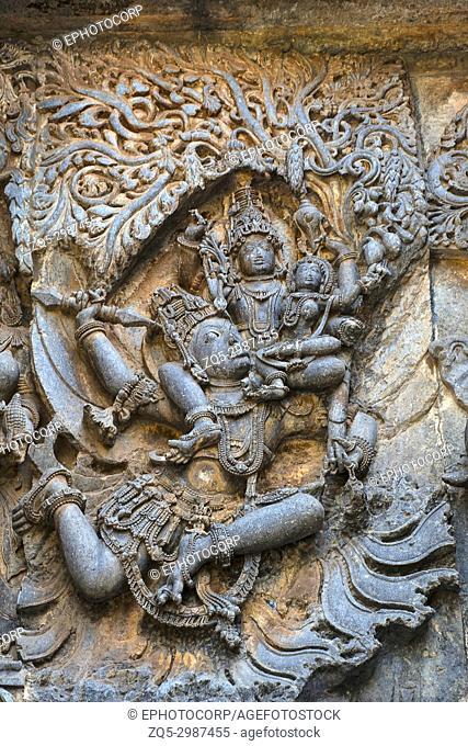 Krishna's ascent to win the Parijata tree, Hoysalesvara Temple, Halebid, Karnataka, 12th Century. Shiva temple