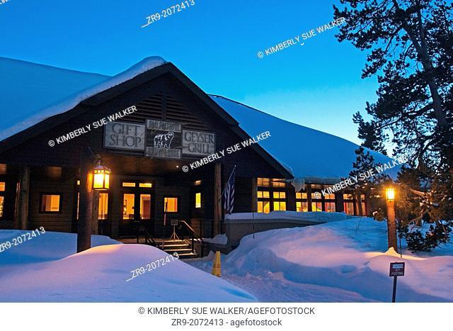 Night shot exterior of Snow Lodge at Yellowstone National Park at Old Faithful Geyser Basin, Wyoming, USA