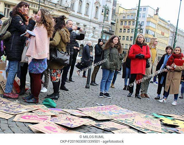 Women from March 8th Coalition demonstrate with motto Feminists together against oppression, on March 8, 2019, in Prague, Czech Republic