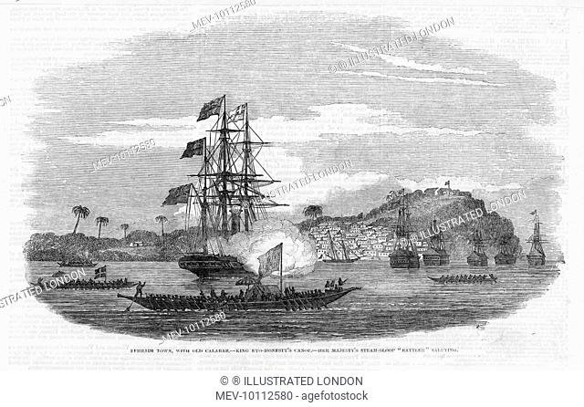 Calabar (Ephraim Town), Nigeria, West Africa: view from the sea, with a salute from the steam-sloop 'Rattler'