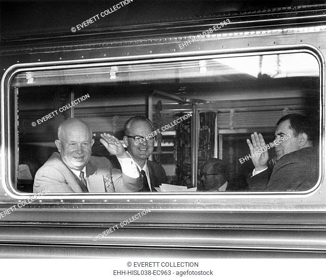 Premier Nikita Khrushchev waving from his train as he leaves Washington for New York City. Also waving at right is Andrei Gromyko, Foreign Minister of USSR