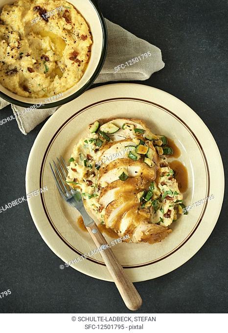 Slice chicken breast with polenta