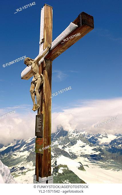 Crucifix on the peak of The little Matterhorn , Zermatt