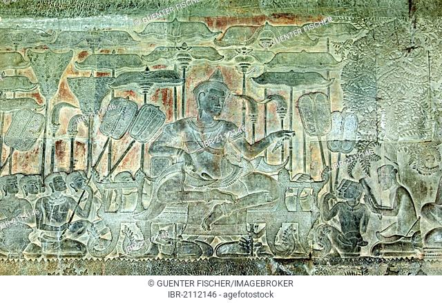 Section of the western side bas-relief in the South Gallery, representing King Suryavarman II, the builder of Angkor Wat, Angkor Wat Temple Complex, Angkor