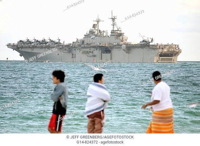Florida, Miami Beach, Atlantic Ocean, shore, public beach, USS Kearsarge, Navy, amphibious assault ship, military, boat, helicopters, sand, beach, leave port
