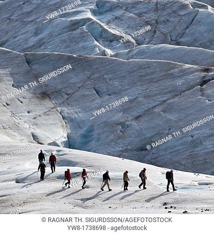 Hiking on Svinafellsjokull Glacier, Iceland