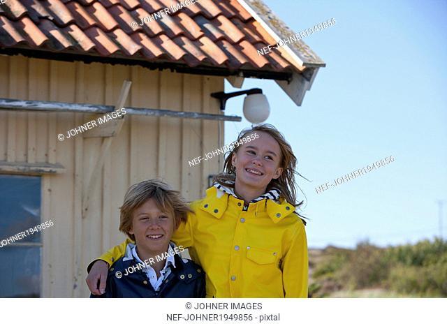 Brother and sister together, Vastkusten, Sweden