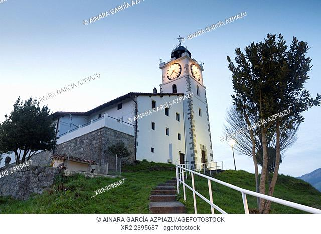 San Martin clock at night, Azkoitia, Urola valley, Gipuzkoa, Basque Country