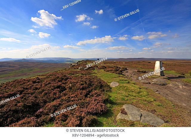 High Neb Trig Point, Stanage Edge, Peak District National Park, Derbyshire, England, UK