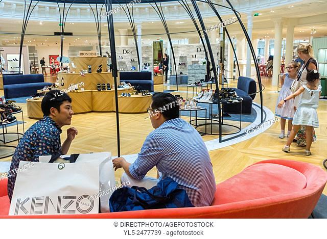 Paris, France, Chinese Tourists Luxury Fashion Brands Shopping in French Department Store, Au Bon Marché, Chanel Shoes