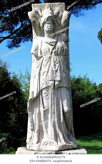 Statue of Winged Minerva in Ostia Antica, the old harbour of Rome, Italy