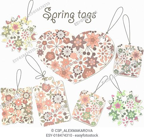 vector spring tags with floral pattern