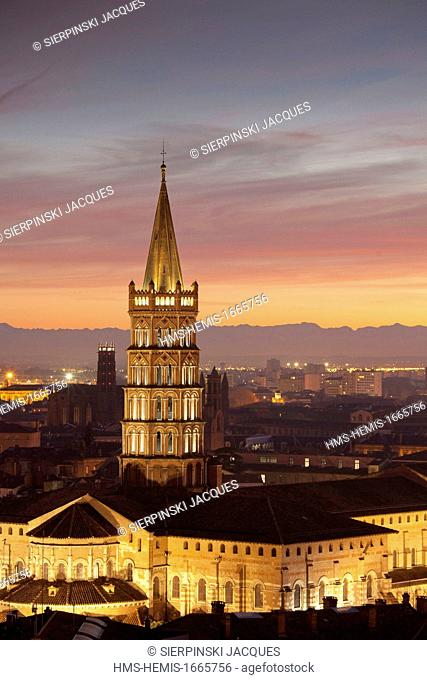 France, Haute Garonne, Toulouse, St Sernin Basilica and the Pyrenees by night