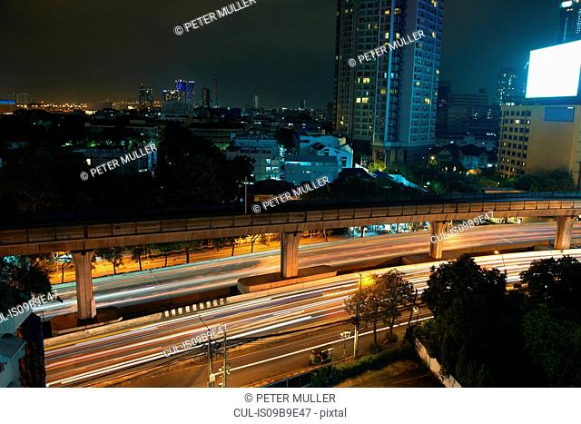 Cityscape and highway at night, Bangkok, Thailand